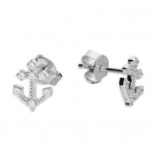 Anchor Stud Earrings With Cubic Zirconia