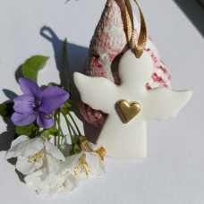 Ceramic Angel With Gold Heart Decoration