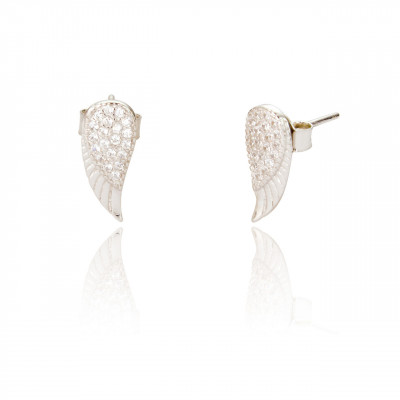 Angel Wing Studs With Cubic Zirconia