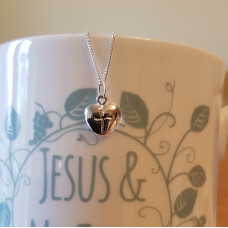 Silver Antiqued Heart With Cross Pendant