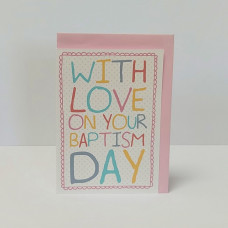 Spotty Baptism Day Greetings Card Pink