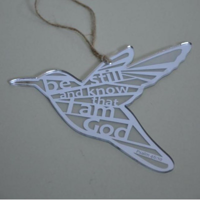 Be Still and Know Silver Hanging Bird