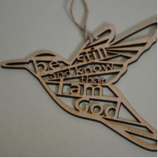Be Still and Know Wooden Hanging Bird