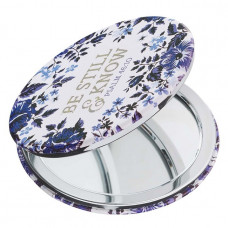 Be Still And Know Blue Floral Compact Mirror