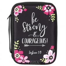 Be Strong And Courageous Floral Bible Cover XL