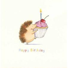 Happy Birthday Hedgehog And Cupcake Card