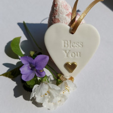 Ceramic Heart Bless You With Gold Heart