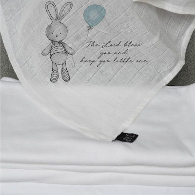 Baby Muslin Blue Rabbit God Bless You