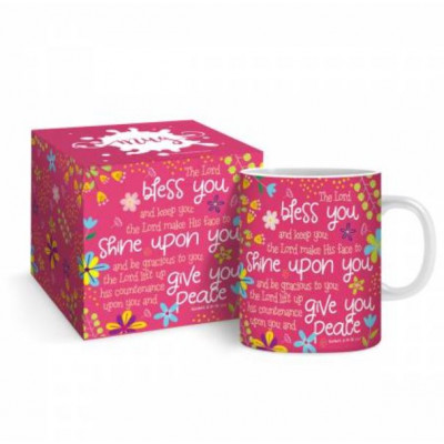 Bless You And Keep You Boxed Mug Raspberry