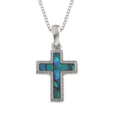 Blue Paua Shell Cross Necklace