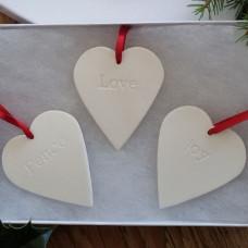 Set Of Three Ceramic Hearts