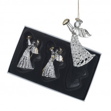 Boxed Set Of Three Hanging Glass Angels