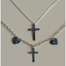 Denim Floral Recycled Tin Cross and Heart Bracelet