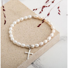 Pearl Bracelet with Cross or Angel