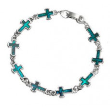 Paua Shell Cross Bracelet