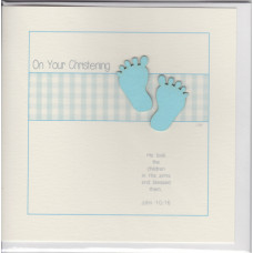 Christening Card Little Blue Feet