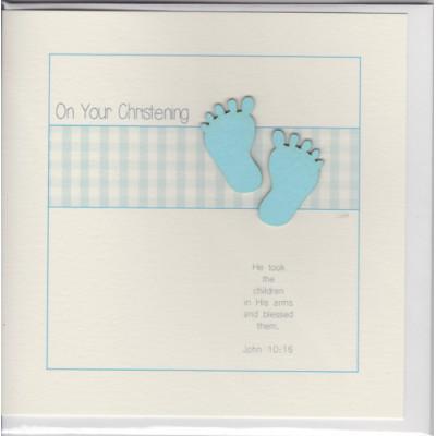Christening Card Little Blue Feet