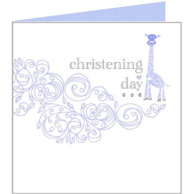 Christening Day Card Blue Giraffe