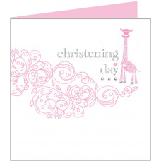 Christening Day Card Pink Giraffe