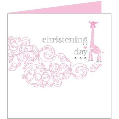 Christening Day Card Pink Giraffe