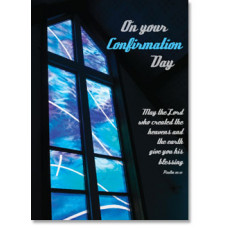 Confirmation Card Blue Stain Glass