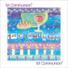 First Communion Card With Candles
