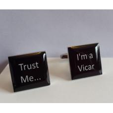 Trust Me I'm A Vicar Cufflinks Black