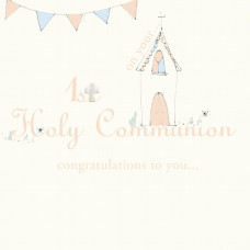 First Holy Communion Card with Tiny Cross