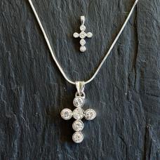 Silver Cubic Zirconia Bubbles Cross Necklace