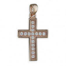Rose Gold Plated Cross With Cubic Zirconia Detail