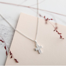 Small Traditional Cross With Cubic Zirconia Necklace