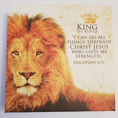 King of Kings Square Canvas Plaque