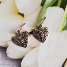 Celtic Heart Drop Earrings With CZ