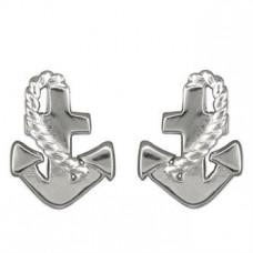 Rope And Anchor Silver Earrings