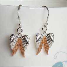 Rose Gold Tipped Silver Angel Wing Earrings