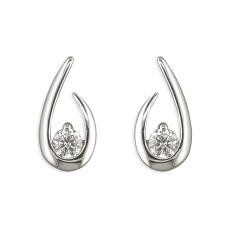 Teardrop Open Swirl Stud Earrings With Cubic Zirconia