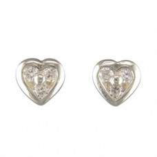 Silver Heart Earrings With Three CZ