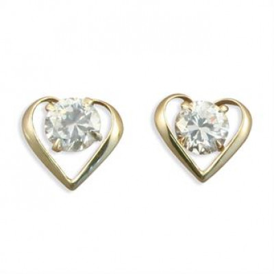 Gold Heart Earrings With Cubic Zirconia