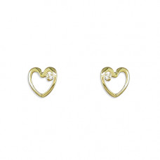 Gold Heart Outline Earrings With CZ