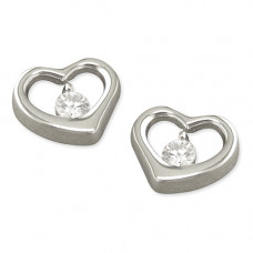 Silver Heart Shaped Earrings With CZ