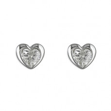 Silver Heart With CZ Earrings
