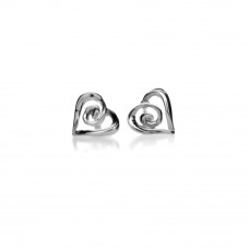 Heart With Spiral Centre Stud Earrings