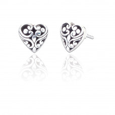 Ornate Silver Heart Earrings