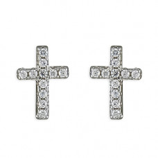 Slim Diamante Cross Earrings