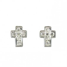 Small Traditional CZ Cross Earrings