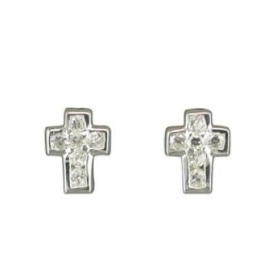 Small Traditional CZ Cross Earrings