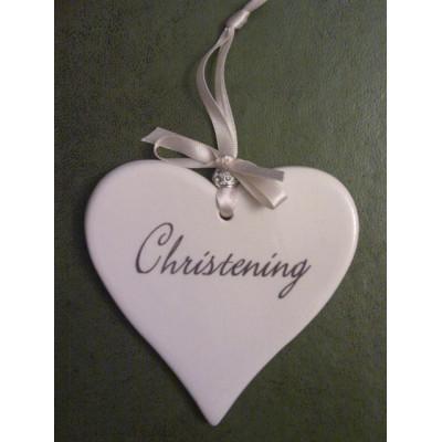 Ceramic Christening Hearts
