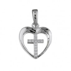 Cross And Heart Necklace - Plain Heart