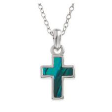 Paua Shell Cross Necklace Iridescent Blue