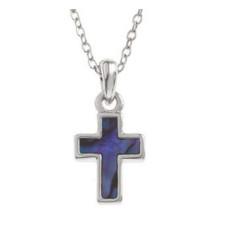 Paua Shell Cross Necklace Purple